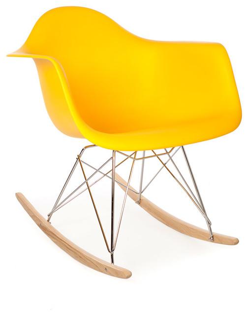 High Quality Mid Century Retro RAR Rocking Arm Lounge Chair Yellow Midcent