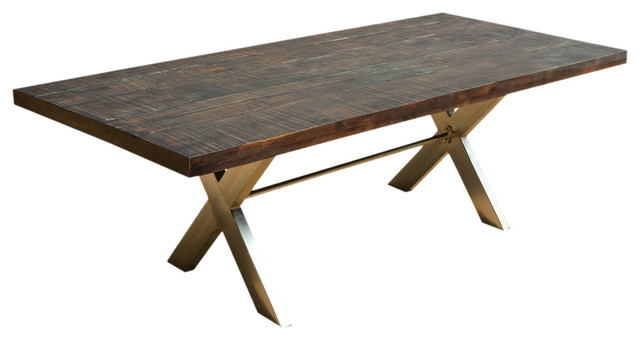 88 Large Modern Rustic Solid Wood Industrial Iron X Legs Dining Table