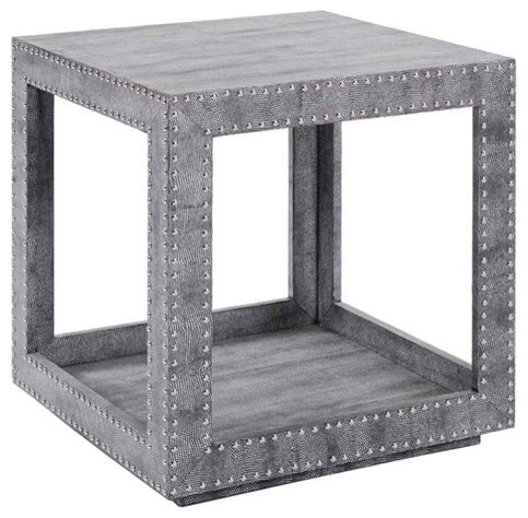 Regina andrew shagreen python studded accent cube table for Coffee tables regina