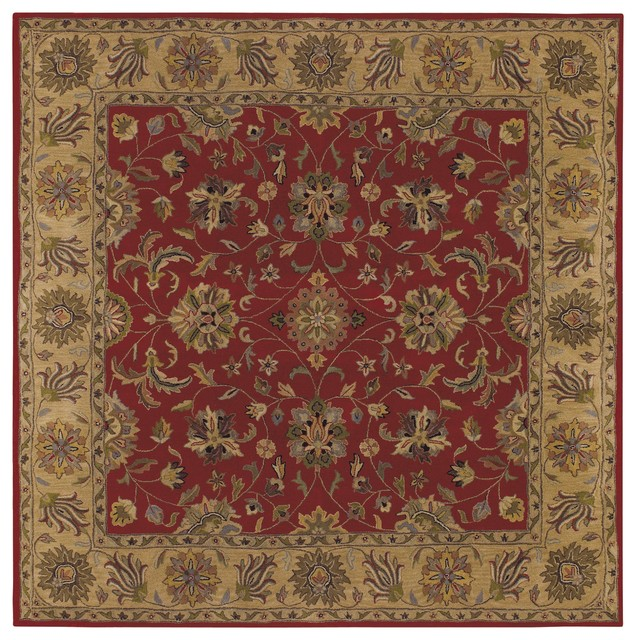 Shapes rug red and gold 9 39 square traditional area for Red and gold area rugs
