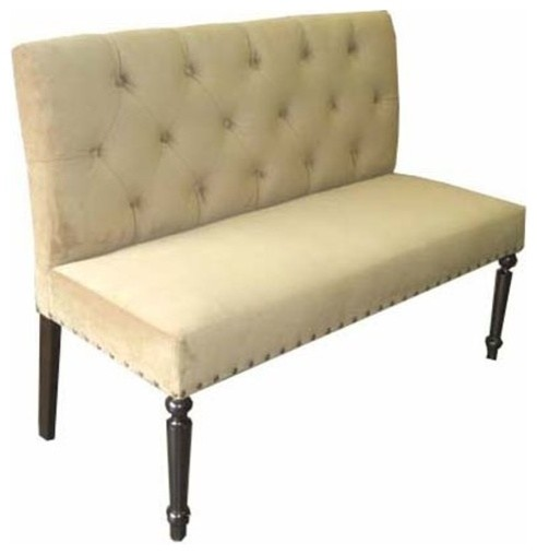 Button Tufted Back Dining Bench Traditional Dining Benches Other Metro