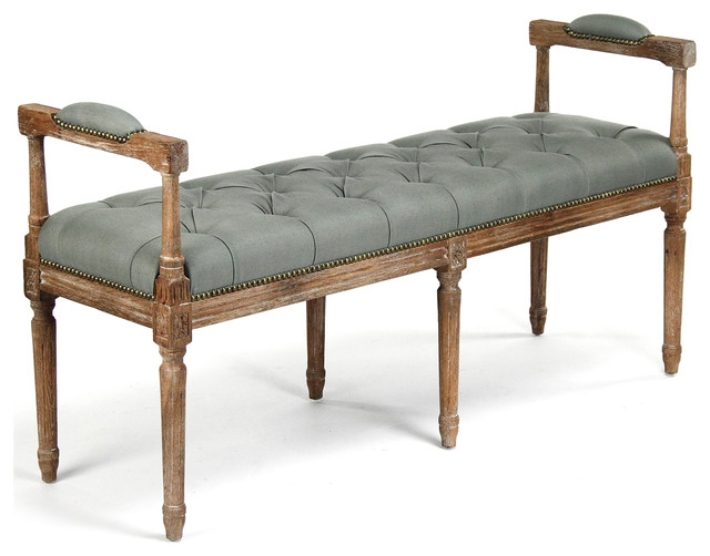 Andrew French Country Sage Moss Linen Oak Bench