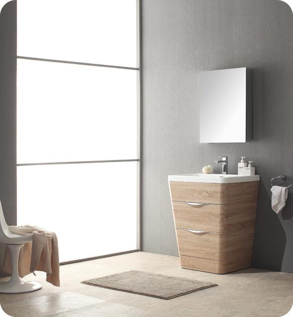 26 white oak modern bathroom vanity w medicine cabinet