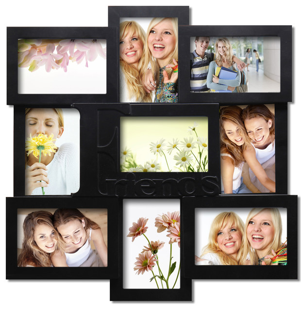 Adeco decorative black wood friends wall hanging collage for Modern collage frame