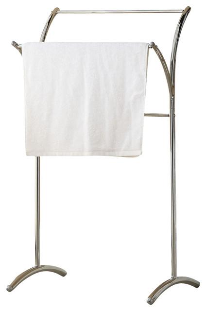 simple design accessories free standing chrome towel rack stand contemporary towel racks. Black Bedroom Furniture Sets. Home Design Ideas