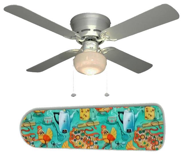 "Mid Century Modern Ceiling Fan: 60's Mid Century Kitchen 42"" Ceiling Fan And Lamp"
