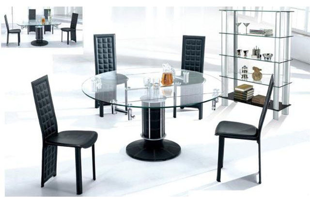 extendable glass top leather modern dinner table set with