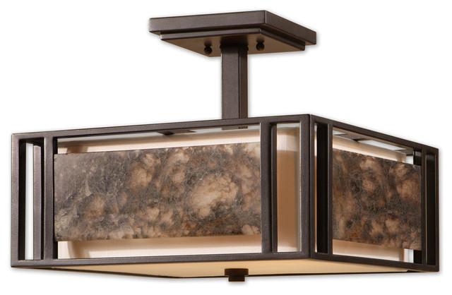 Uttermost 22268 Quarry 3 Light Marble Semi Flush Mount Contemporary Flush