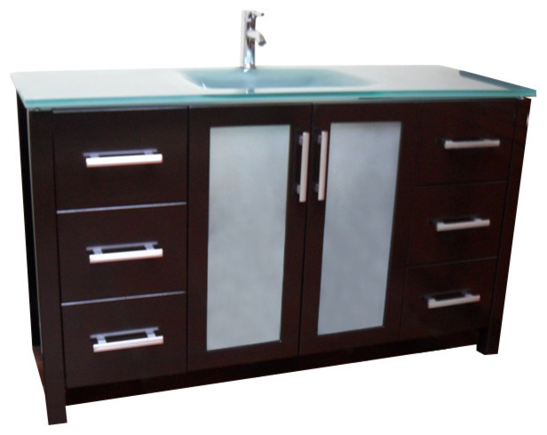"Frost Green Glass Modern Contemporary Bathroom Vanity, Espresso, 55"" - Contemporary - Bathroom ..."