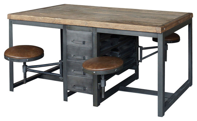 Terran Work Table Rustic Black Industrial Dining Sets