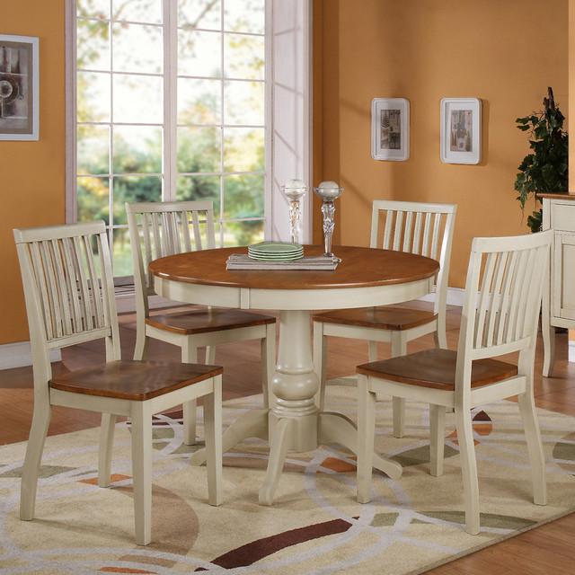 Steve silver candice 5 piece round dining room set in oak for Modern oak dining room sets