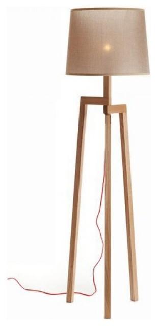 Modern Wood Tripod Floor Lamp With Artistic Fabric Shade