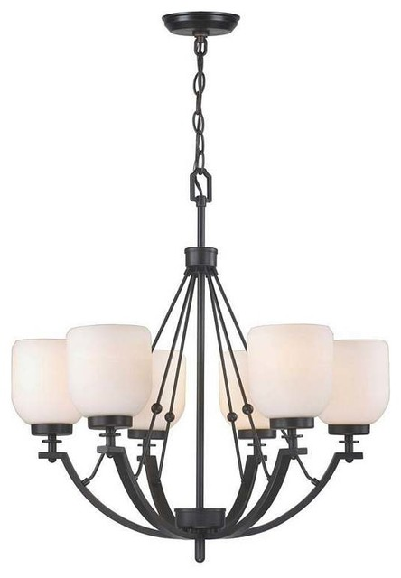 6Lt ORB Chandelier White Frosted Glass modern chandeliers
