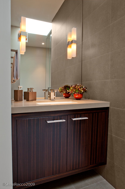 Modern Ebony And Pewter Powder Room Contemporary