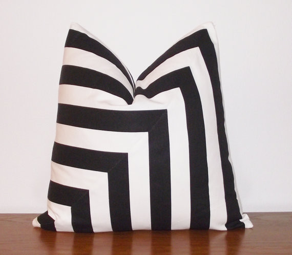 Contemporary Decorative Pillows: Decorative Pillow Cover Black And White Stripes By
