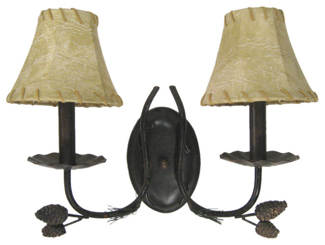 Rustic Bronze Wall Sconces : Bronze 2 Light Wall Sconce with Faux Leather Shades - Rustic - Wall Sconces - by Lighting ...