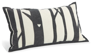 Tree white charcoal pillow moderne coussin par for Room and board pillows