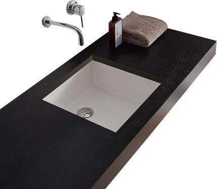 Square White Ceramic Undermount Sink - Contemporary - Bathroom Sinks ...