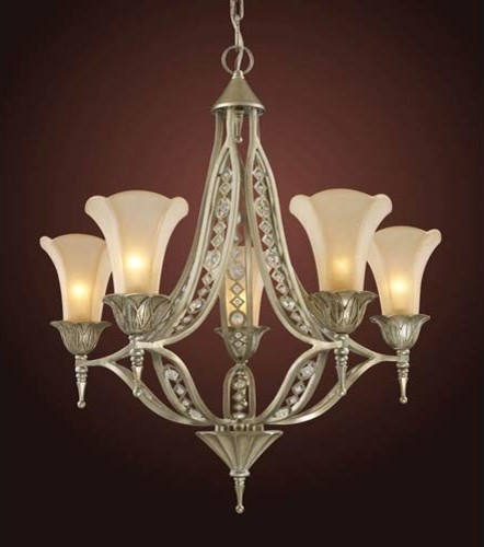Elk Lighting Bordeaux: Trump Home Chelsea Five-Light Aged Silver Chandelier