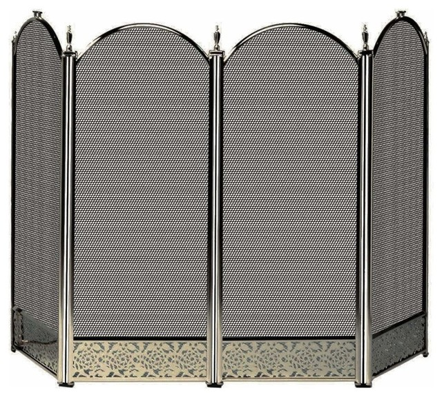 Uniflame S 4645 4 Fold Antique Brass Screen W Decorative Filigree Traditional Fireplace