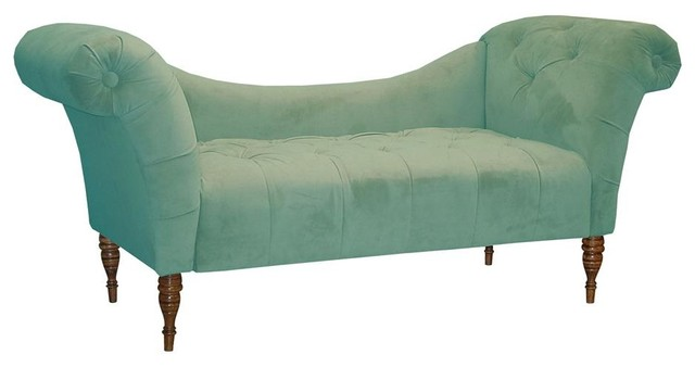 Eaton chaise blue transitional indoor chaise lounge for Blue chaise lounge indoor