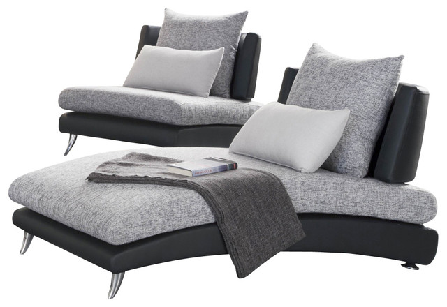 Homelegance renton upholstered chaise in black and grey for Black chaise lounge indoor