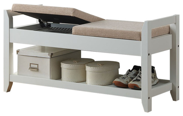 Maudie and white wooden shoe storage seating bench with taupe fabric cushion contemporary Shoe storage bench with cushion