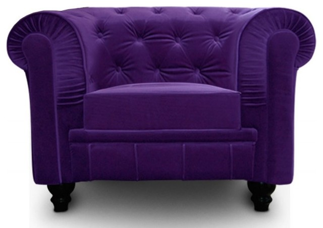 fauteuil fixe chesterfield royal en velours violet capitonn contemporain fauteuil par. Black Bedroom Furniture Sets. Home Design Ideas