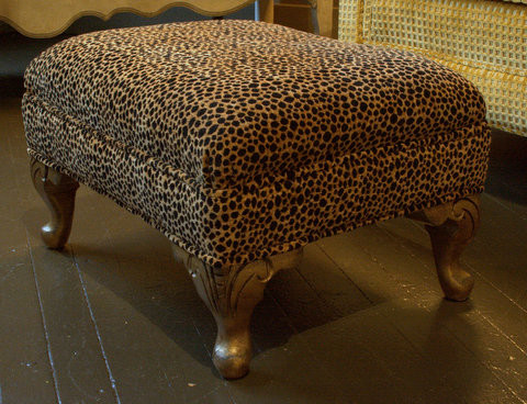 Leopard Print Footstool Traditional Footstools And