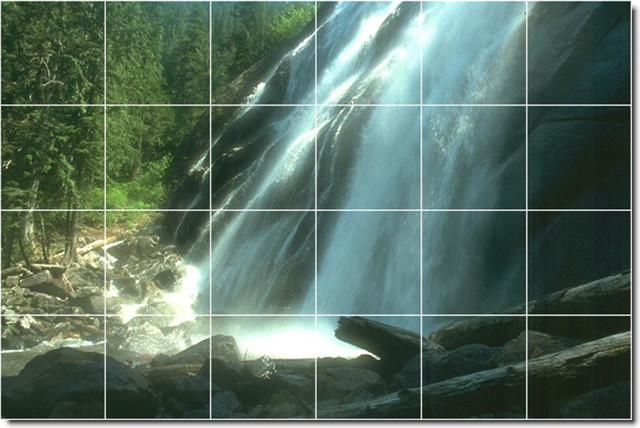 Waterfalls Photo Wall Tile Mural 108  Classique  Fresque