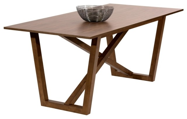 Modern Walnut Veneer Dining Table Scandinavian Dining Tables By