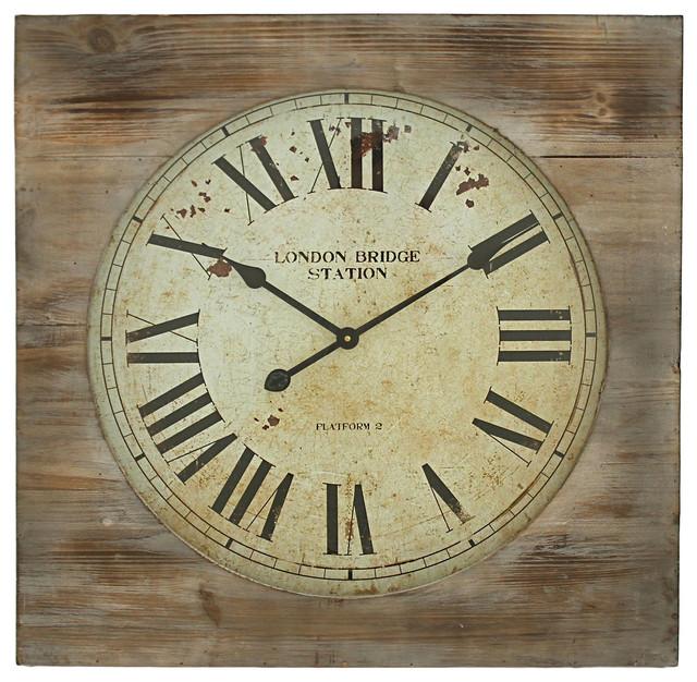 London Bridge Station Square Wall Clock Farmhouse Wall Clocks by Aspire