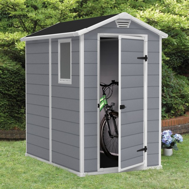 Keter manor 4 x 6 ft storage shed multicolor 212917 for Garden shed 6 x 4