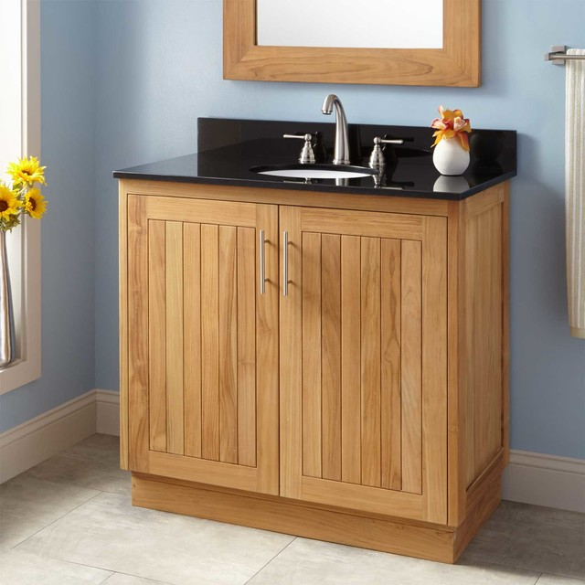 36 Narrow Depth Montara Teak Vanity For Undermount Sink