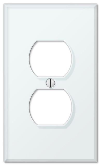 Glass Tile White Acrylic 1-Duplex Wall Plate - Contemporary - Switch Plates And Outlet Covers ...