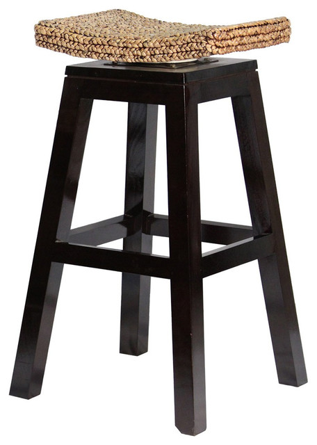 30 Quot Swivel Top Barstool With Woven Seat Transitional