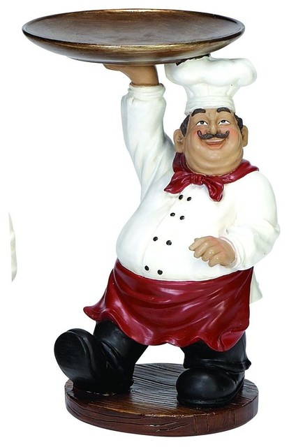 Polystone Chef with Tray Amusing Decor modern-garden-statues-and-yard-art
