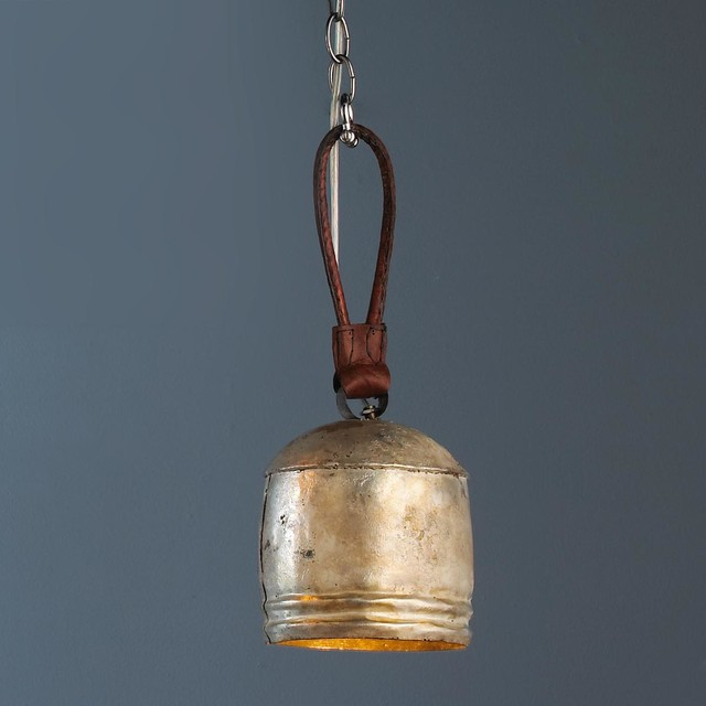 Weathered Silver Cowbell Pendant