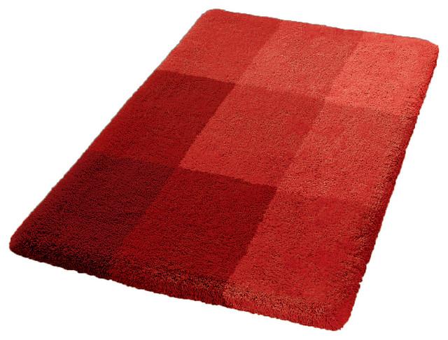 Luxury Non Slip Washable Bathroom Rug Red Square