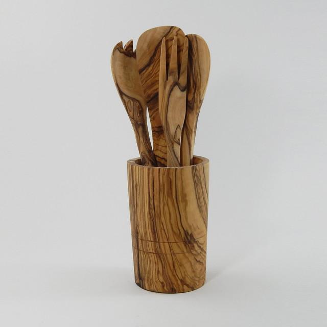 Rustic Kitchen Utensil Holder: Le Souk Olivique Olive Wood Utensil Holder