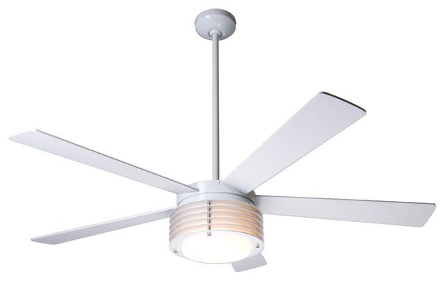 Modern Fan Company Pharos Gloss White 52 Ceiling Fan: modern white ceiling fan