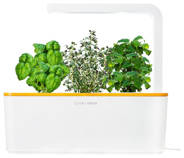 Click grow smart herb garden starter kit orange lid modern indoor pots and planters - Indoor herb garden starter kit ...