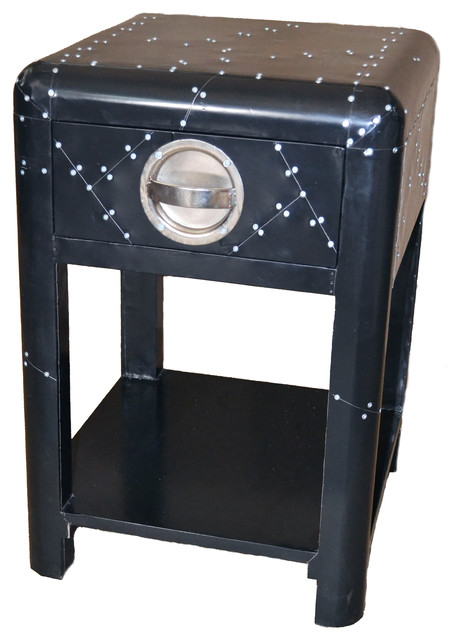 Black aviator aluminum sidetable with 1 drawer modern for Black side table with drawer
