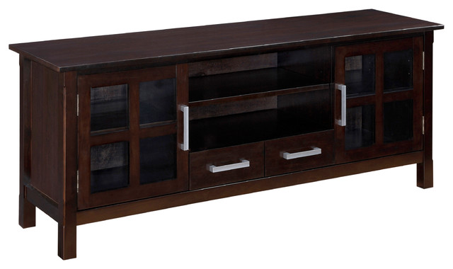 kitchener 60 inches wide x 24 inches high tv stand in dark walnut brown contemporary. Black Bedroom Furniture Sets. Home Design Ideas