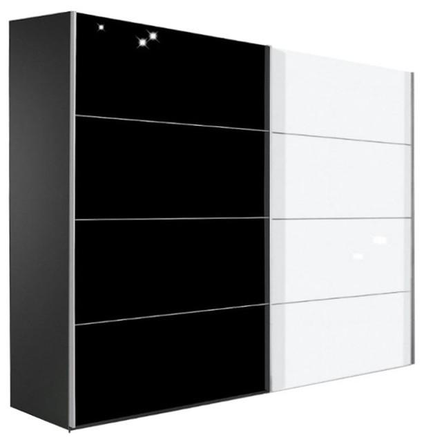 kick 252cm verre blanc brillant et melamin noir mat avec. Black Bedroom Furniture Sets. Home Design Ideas