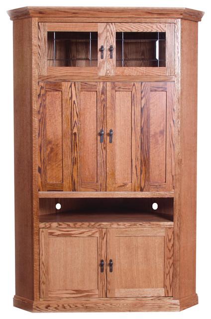 Mission Large Corner TV Unit Spice Alder - Craftsman - Media Cabinets - by Oak Arizona