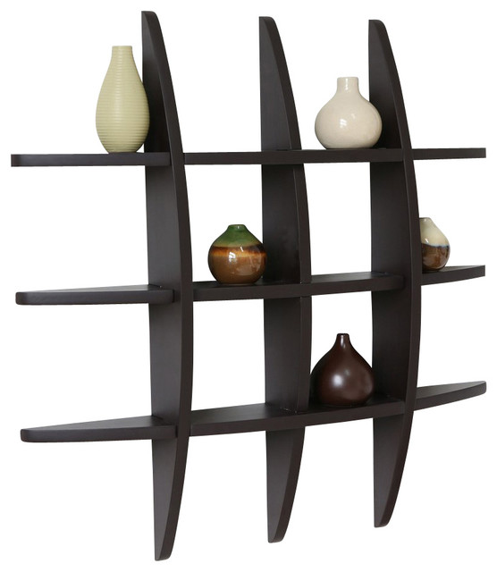 Lexington Globe Cross Display Wall Shelf, Espresso - Contemporary ...