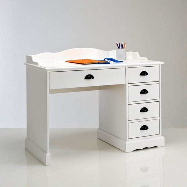 Bureau blanc authentic style contemporain meuble for Meuble bureau contemporain