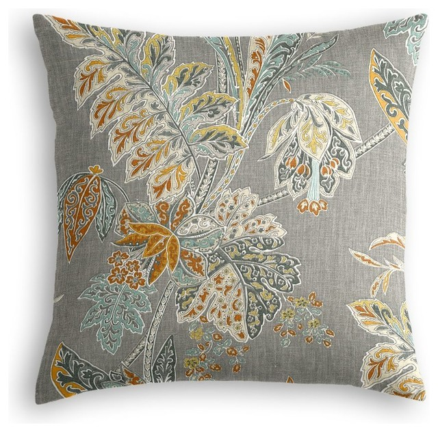 Paisley-Style Gray Floral Throw Pillow - Traditional - Decorative Pillows - by Loom Decor