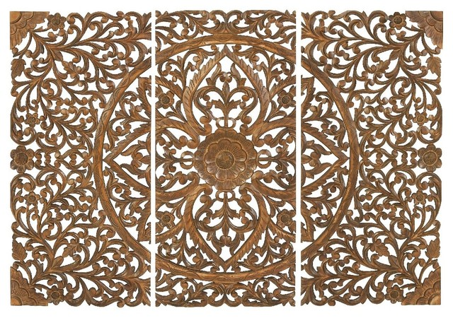 Set of 3 carved wood wall panels brown intricate floral - Carved wood wall art panels ...